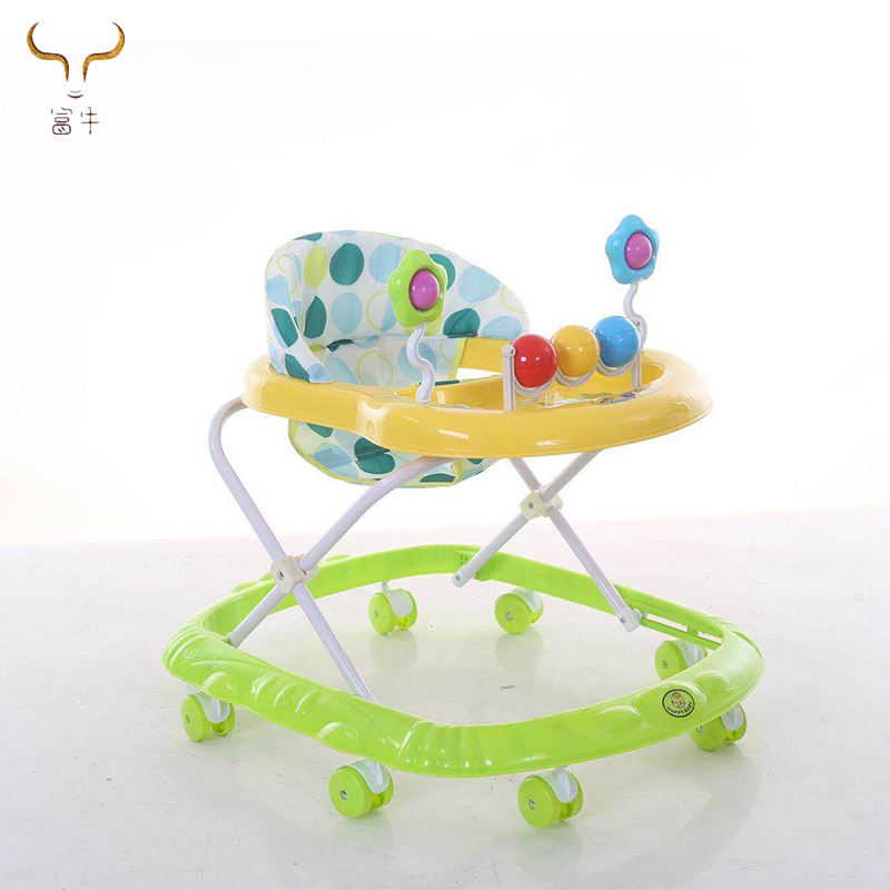2018 simple baby toy child learning walker with music/8 pu wheels baby activity walker/multifunction folded baby walker for sale