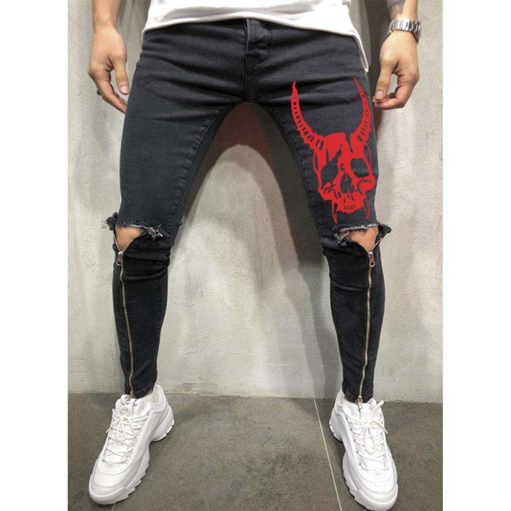 RTS product in stock fashion mens jeans zipper straight leg skinny jeans cool red skull printing knee hole ripped mens jeans