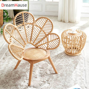Dreamhause Indonesia Rattan Woven Jane Petal designer Living Room Peacock Leisure Chair Balcony Patio Garden Flower Shaped Chair