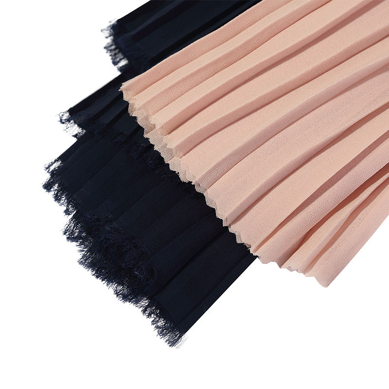 customized pattern 100%polyester chiffon imitated silk pleat fabric for dress trouser hijib