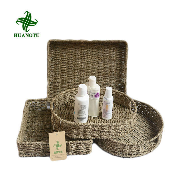 Natural woven seagrass Basket For home table Fruit Bread Towels Small Kitchen Storage Container set