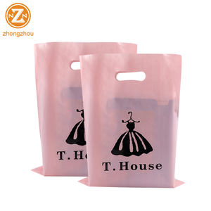 custom design logo printing plastic clothes shopping packaging gift bags hdpe die cut handle poly packing bag