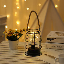 Battery operated Plastic bulb Hanging lamp LED Cage Lantern for Home decor