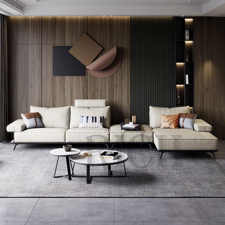 La habitación de cuero genuino blanco sofá en forma de L moderno Beige sofá de cuero italiano cómodo <span class=keywords><strong>Casa</strong></span> Divano esquina sofá
