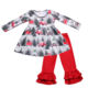 Hot Sale Wholeslae Stock Ready to Ship Fashion Winter X-mas Tree Tunic and Red Pants Set Cute Kids Girls Christmas Outfit