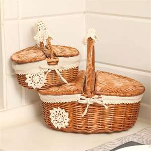 Wicker Camping Picnic Basket Shopping Storage Hamper With Lid Handle Wooden Color Willow Woven Food Fruit Picnic Basket