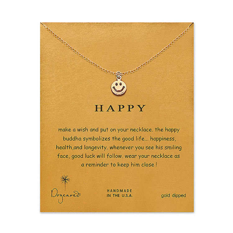 Fashion Simple Big Smile necklace Make A Wish Card Circle Choker Necklace Gold Clavicle Circle Necklace