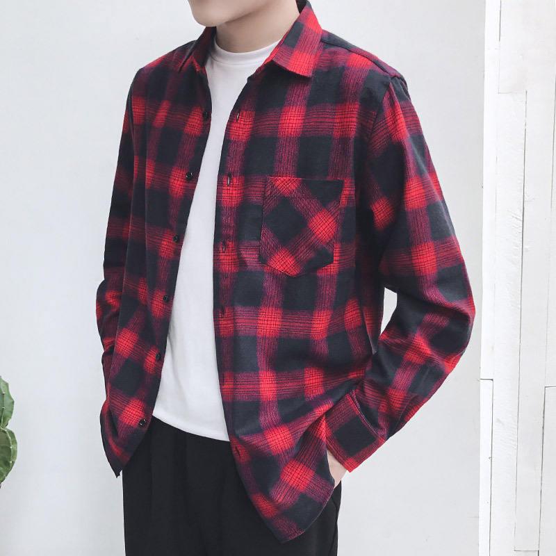 wholesale stretch plaid flannel fashion men's custom woven label flannel shirt men