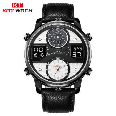KAT 720 Dual Display Chronograph Wristwatch Digital Sport Men Watch Big Dial Leather Strap Date