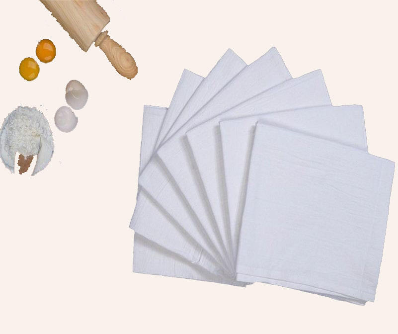 Flour Sack Kitchen Dish Towels 100% Pure Cotton Durable Bleached Low Lint Fast Drying Commercial Grade