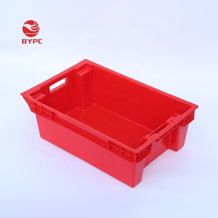 Closed solid Customized stackable and nestable vented plastic crate for food