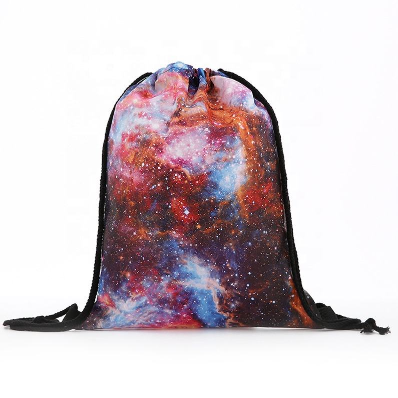 Custom Design Printed High Quality Polyester Drawstring Bag Cheap Promotional Drawstring Backpack