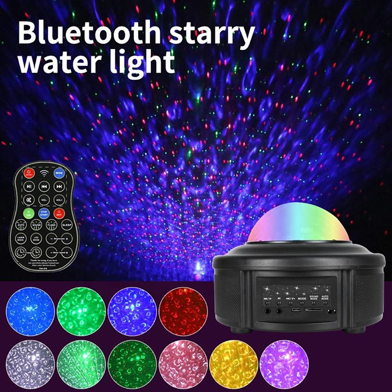 YSH Galaxy lighting LED Projector Colorful Starry Nightlight Flashing Lamp Remote Control Bluetooth Music Player Night Light