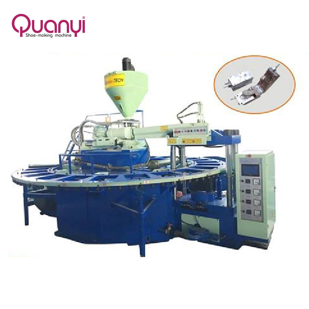 Automatic Rotary type PVC air blowing crystal shoes injection moulding machine