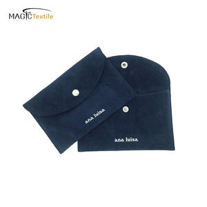 Customized logo deign silk suede velvet jewelry pouch with snap closure recycled jewelry Bags