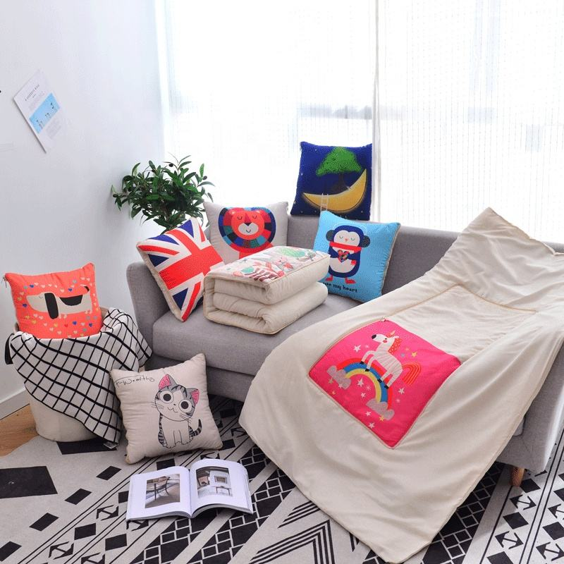 Wholesale blanket inside pillow car cushion blanket low moq 2 in 1 blanket and cushion