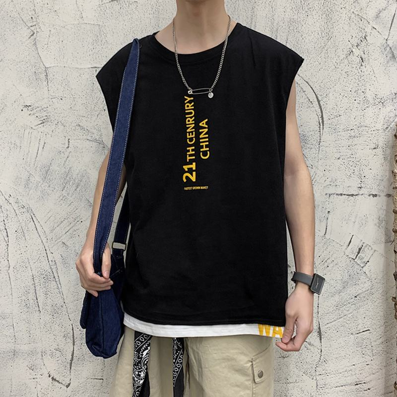 Men's sleeveless T-shirt trend brand all over the shoulders summer loose cotton vest men's ins basketball