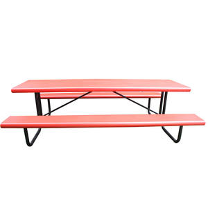 Long outdoor picnic table and benches set