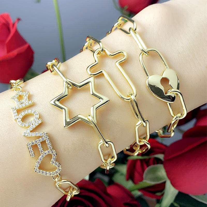 Trendy 18K Gold Jewelry With Love Star Lock Shape Zircon Bracelet