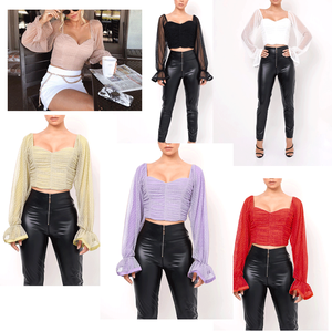 ZC H3C31004 New Ladies Casual Deep V-Neck Off Shoulder Slim Sexy Backless Single-Breasted Long Puff Sleeve Tops