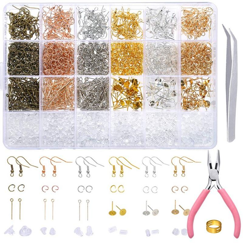 Jump Rings Earring Post Pliers Tweezers Jump Ring Opener 463 Pieces Earring Making Supplies Kit with Earring Hooks