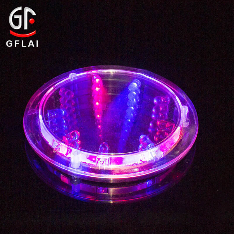 GFLAI Christmas Decoration Bar Item Liquid Activated Multicolor Customized Design Led Light Drink Coasters