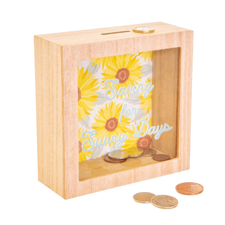 Plain Wood Glitter Glass Shadow Money Box Piggy Bank Photo Frames
