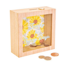 Plain Wood Glitter Glass Shadow Money Box Piggy Bank Photo Frame
