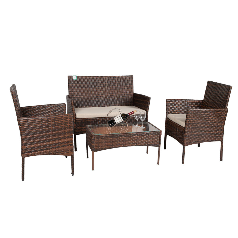 All Weather Patio Wicker Garden Sofa Poland Outdoor Synthetic Rattan Furniture Set