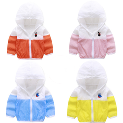 Ebay hot sell  wholesale  summer Hooded Sunscreen clothing breathable light coat clothes for kids coats