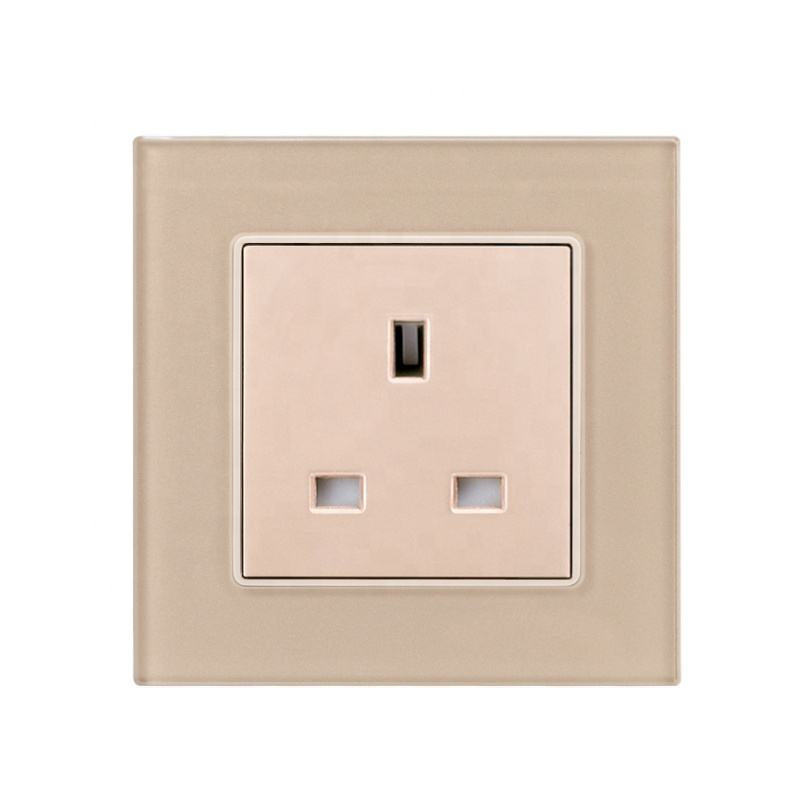 British Standard High Quality Toughened Glass Panel Framed 3 Pin Wall Power Socket