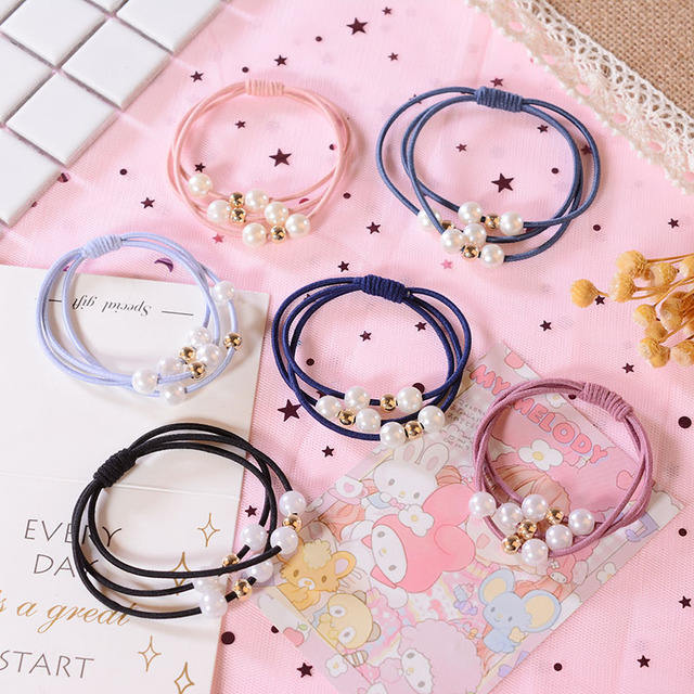 Korean style pearl Rubber Band High-Elastic Thick Non-slip Loss-proof Hair Ring Band ties for girls lady