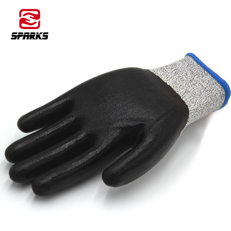 ce level 5 protection sandy nitrile coated working garden farm slash resistant anti cut gloves