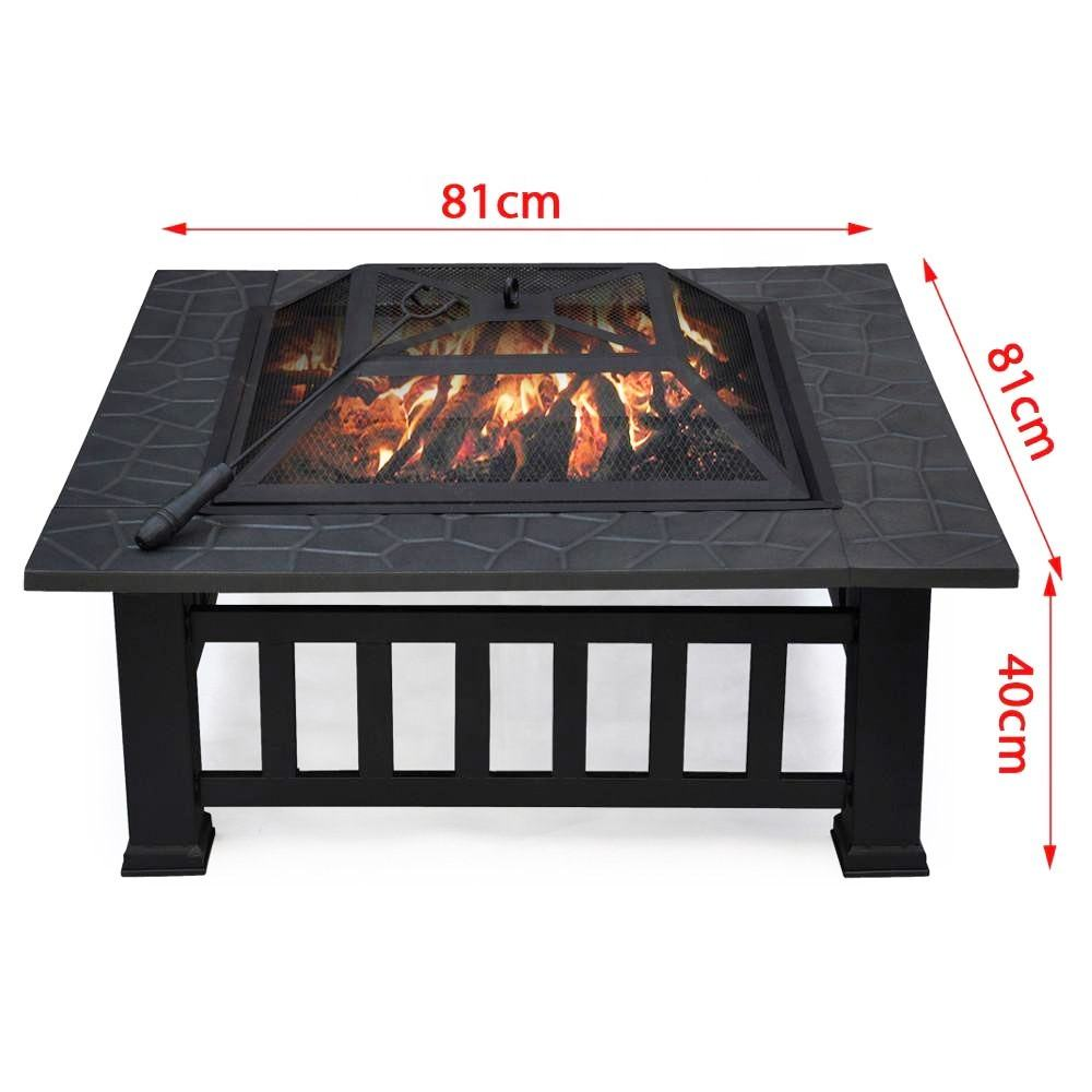 Stocked Amazon Best Seller 32 Inch Square Metal Backyard Patio Garden Outdoor Fire Pit