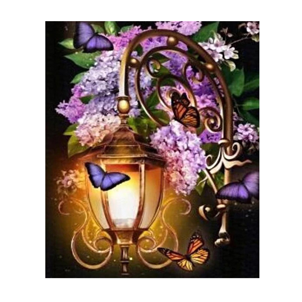 5d Diamond Painting Kit street lamp handmade painting Embroidery cartoon flowers Diamond Mosaic canvas paintings for sale Gift