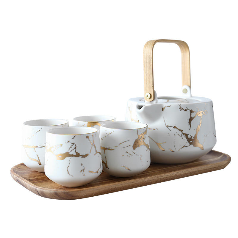 Hotsell Marbelize tea set with tea cup and teapot