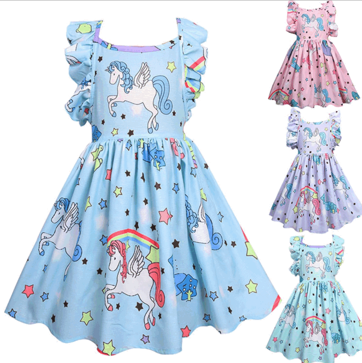 children Birthday Print cartoon girls Dress and Accessories Holiday Gown Infant Girl Tutu Party dress Soft Toddler Onesie Kids