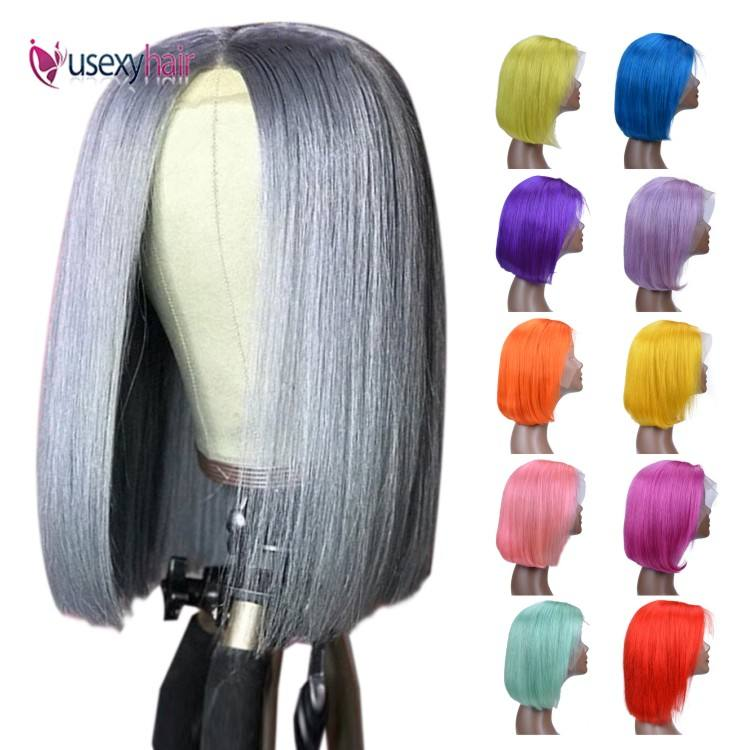 Pink Color Bob Lace Front Wigs Human Hair Wholesale 613 Blonde Blue Red Grey Green Ombre Short Bob Wigs For Black Women