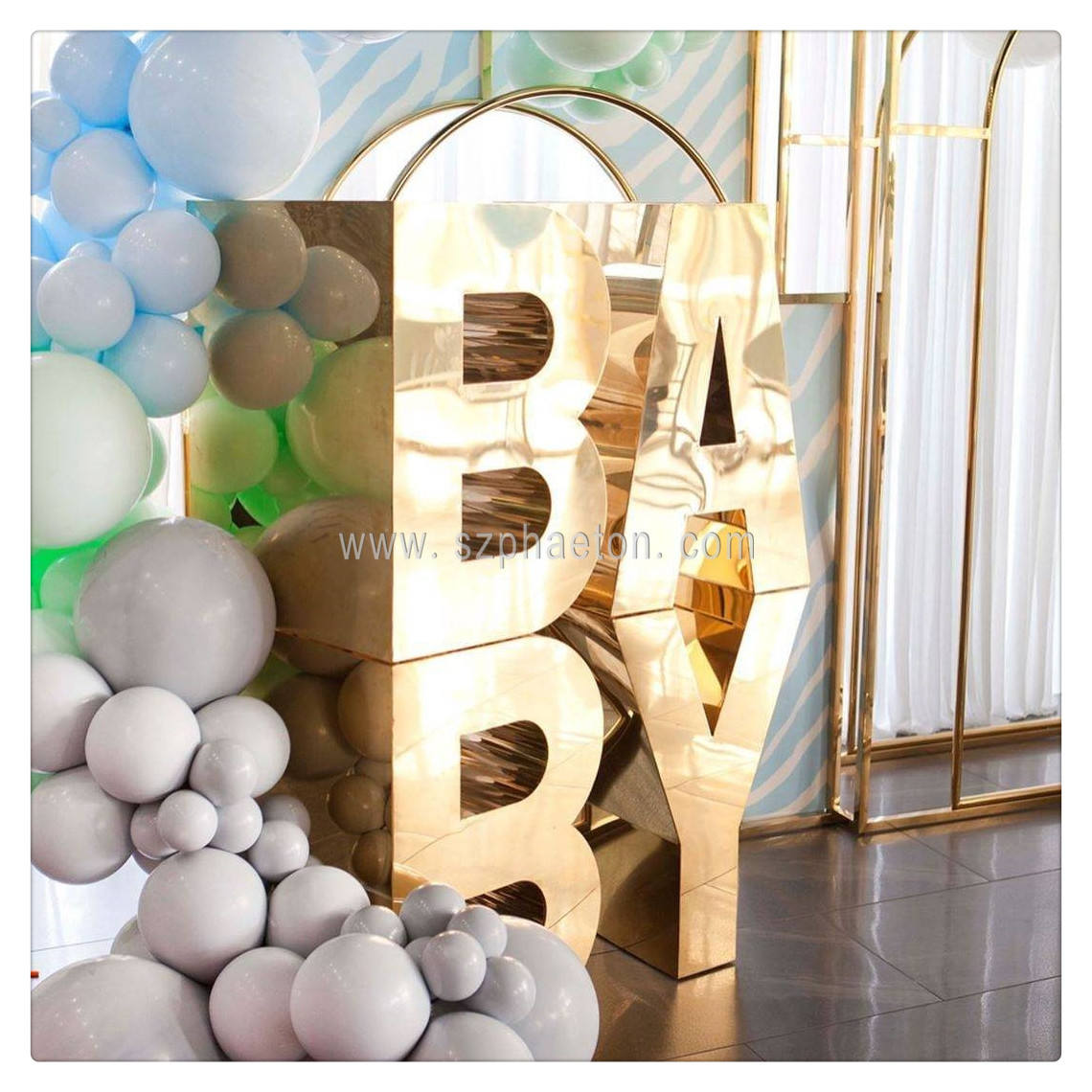 Party supplies letter table for cake / dessert display, mirror gold letter table BABY for baby shower decoration