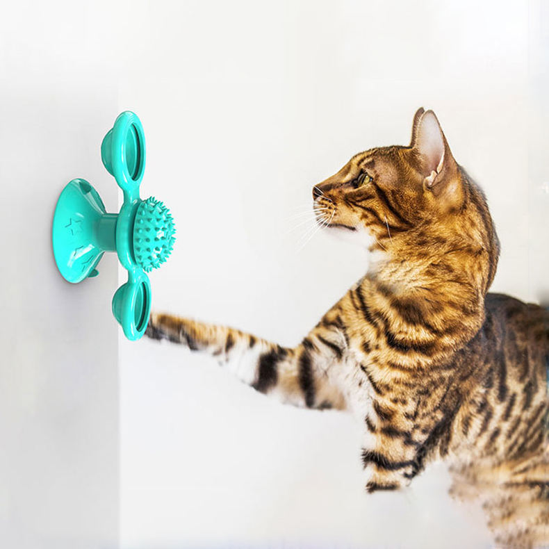 Cat Windmill Toy Pet Supplies Rotary Cat Toy With Suction Cup To Scratch Cat Brush Cleaning Teeth Puzzle Pet Toy