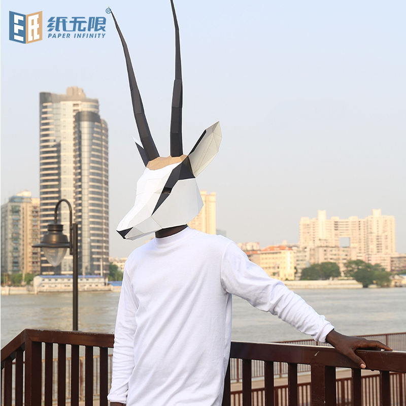 Tibetan antelope handmade diy paper mold head mask ins short video shooting activity performance design customized props