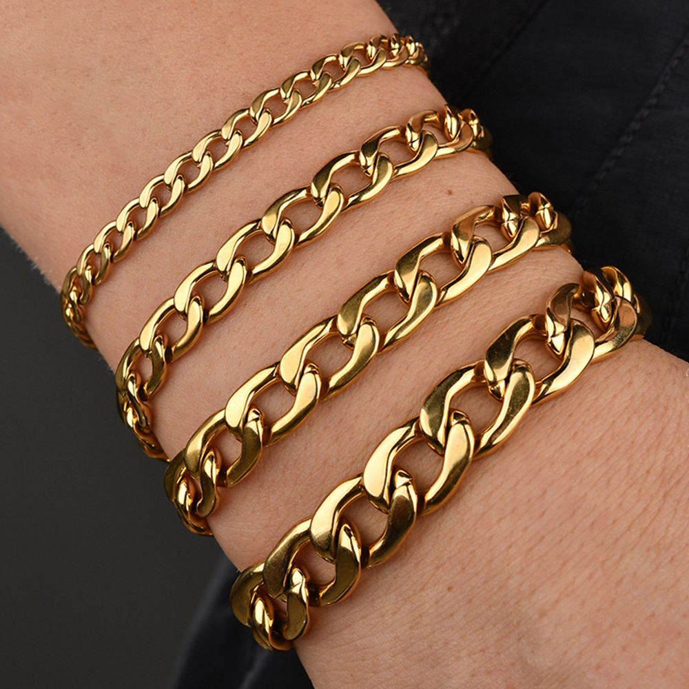 4 size Stainless Steel 18K Gold plated link chain Bracelet for men