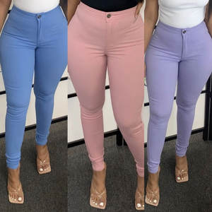 2020 Wholesale Women Stretch High Waist Candy Color Skinny Jeans Elastic Pants Solid Color Trousers Women Pencil Pants