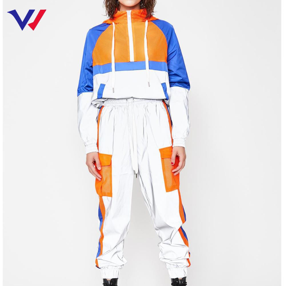 Custom latest design nylon hooded tracksuit designer track jogging suit