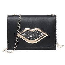 Fashion Ladies Lips Pattern Small Purses with Chain Shoulder Bag for Women Messenger Crossbody Bags