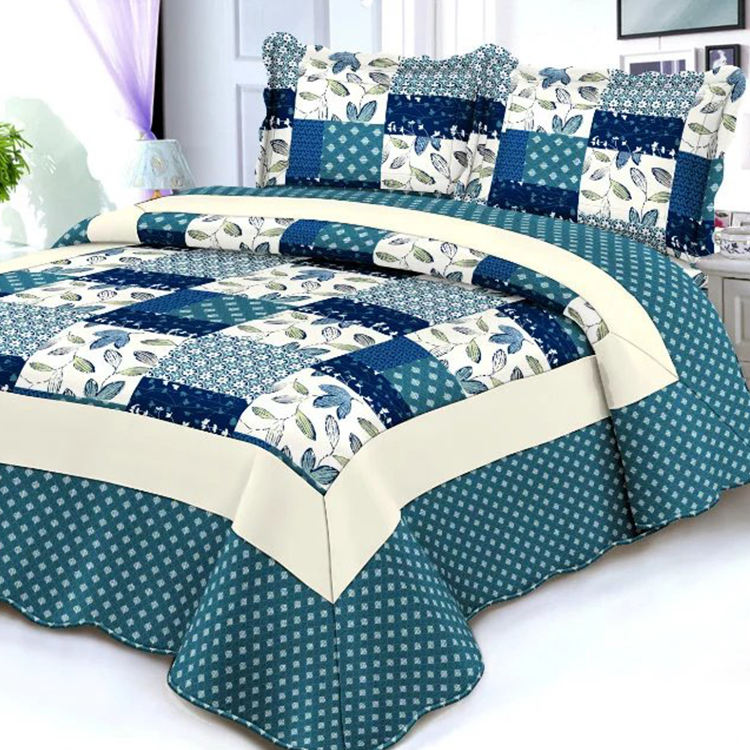 Printed Patchwork Microfiber Cheap Bed Quilt Cover Set China Bedspread