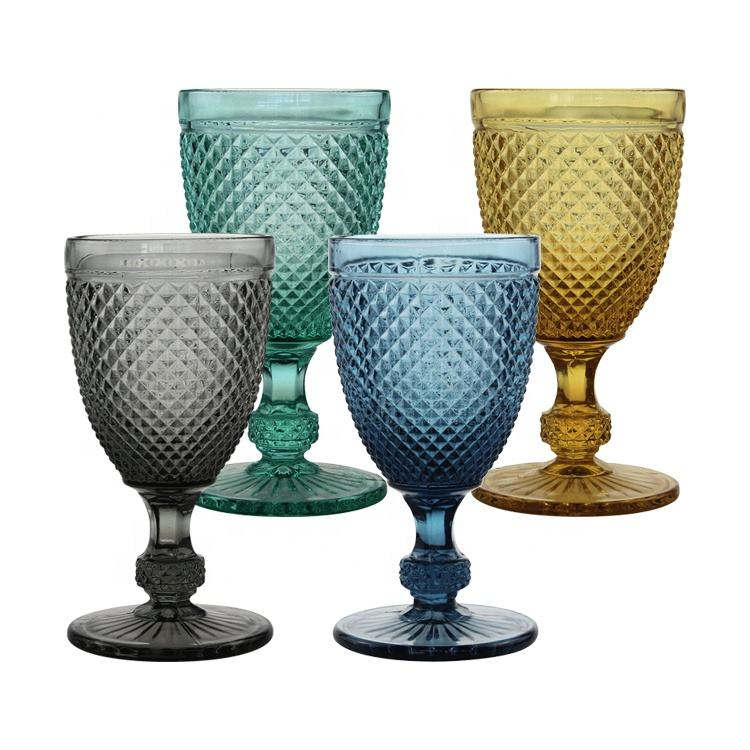 customized glass wine vintage goblets glass manufacturers coloured wine glass wedding wine glasses