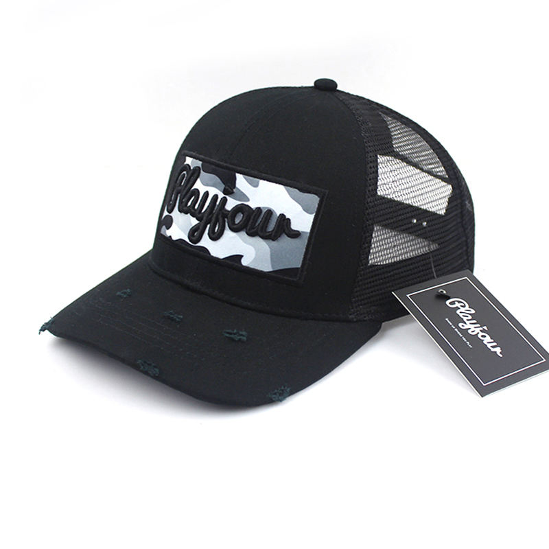 Logo Patch Bordir Dicetak <span class=keywords><strong>Topi</strong></span> Trucker Kustom Distressed, <span class=keywords><strong>Topi</strong></span> Trucker Jala <span class=keywords><strong>Hitam</strong></span> Grosir