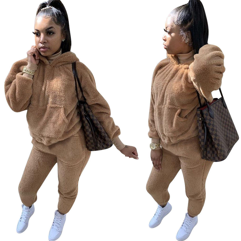 2020 Winter Fall New Loose Solid Color Two piece Set Plush Hooded Sweater Suits For Women