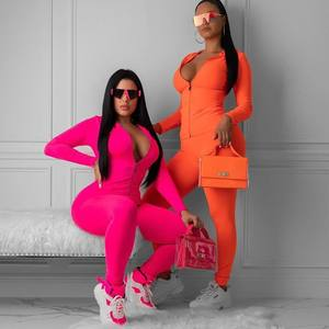 Neon Orange Women Two Piece Outfits Sports Tracksuits Fall Long Sleeve Zip Up Sweatshirt Sweatpants Suit Set Y12217